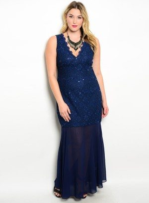Navy Plus Size Lace Sheer Evening Dress