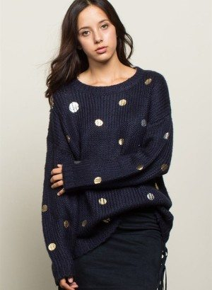 Navy Blue Over Sized Polka Dot Print Knit Sweater
