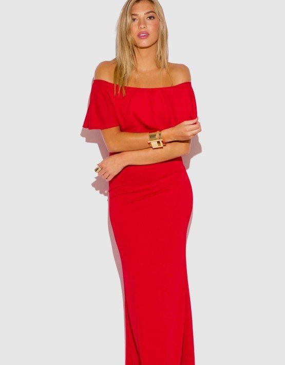 RED RUFFLE MAXI DRESS