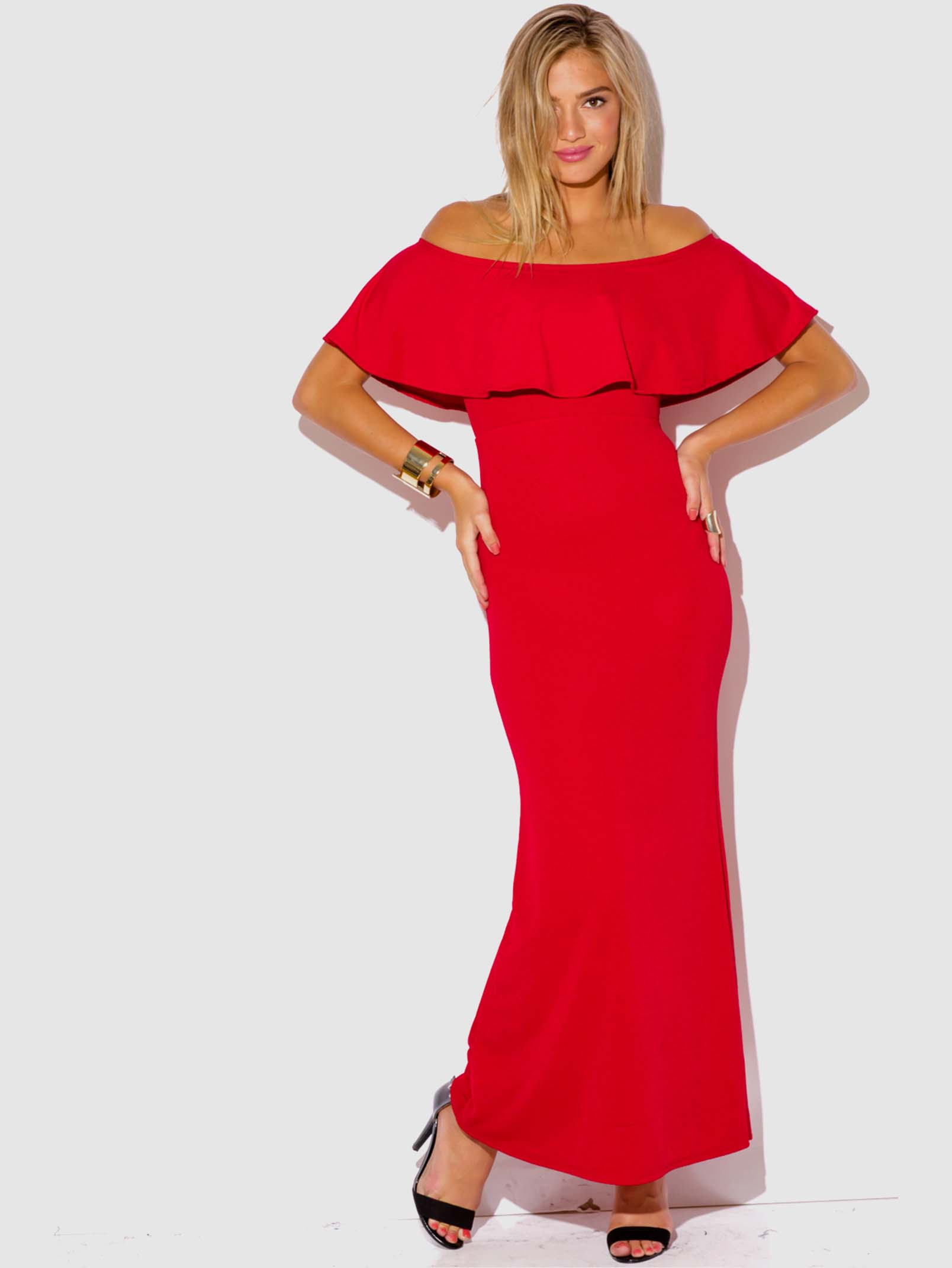 RED RUFFLE MAXI DRESS - ModishOnline.com