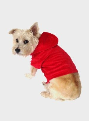 Red Velour Pullover Dog Hoodie