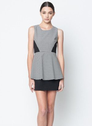 Black Contrast Houndstooth Peplum Dress