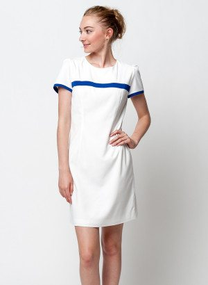 White Blue Lined Shift Dress