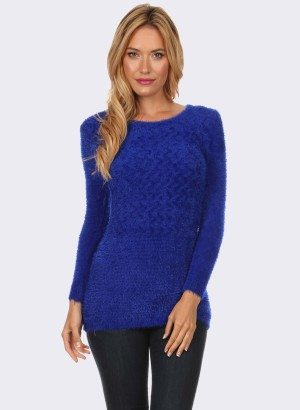 ROYAL BLUE TEXTURED KNIT SWEATER