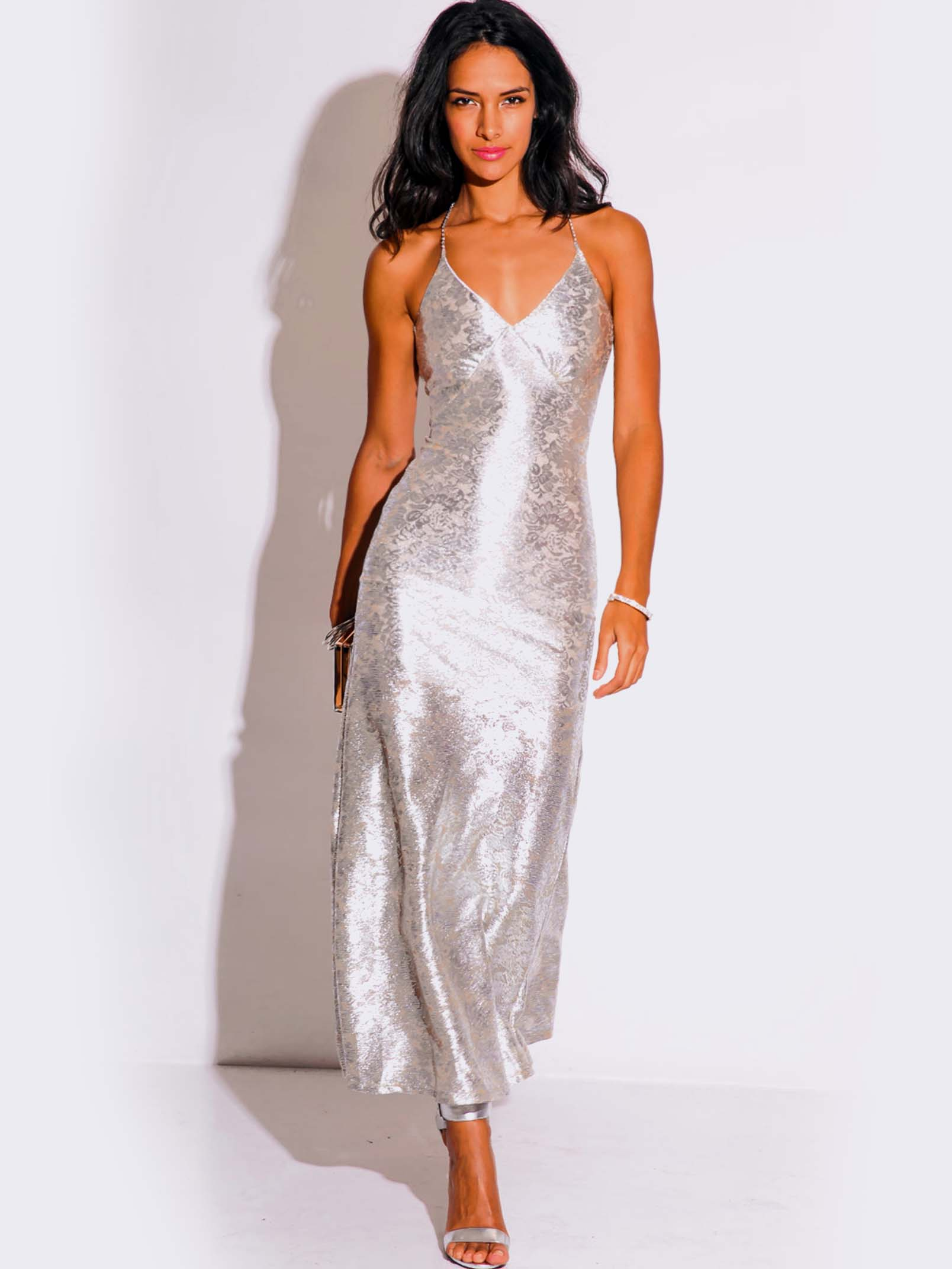 Light Silver Metallic Formal Evening Dress Modishonline Com