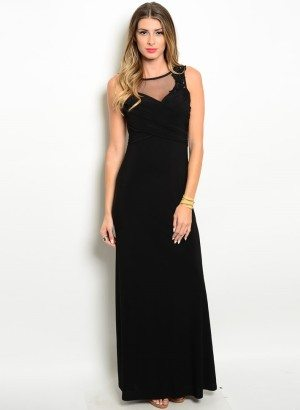 Black Flowy Fit Gown
