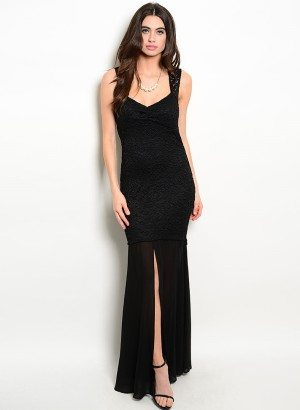 Black Sleeveless Lace Evening Dress
