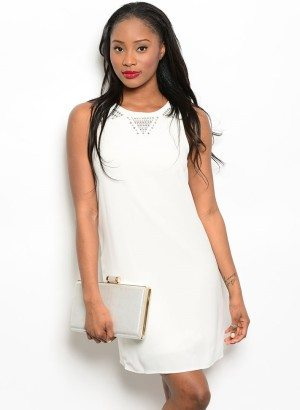Studded Ivory White Casual Shift Dress