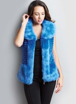 Teal Blue Faux Fur Vest for Women