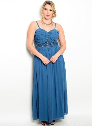 Teal Plus Size Jewel Embellished Evening Dress