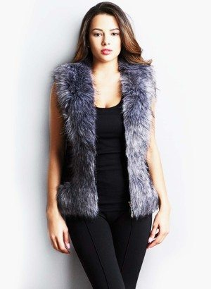 Faux Fox Fur Zip Front Vest in Grey