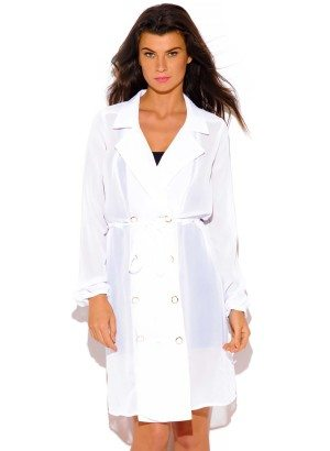 WHITE SEMI SHEER DOUBLE BREASTED TRENCH COAT