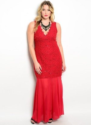 Wine Plus Size Lace Sheer Evening Dress