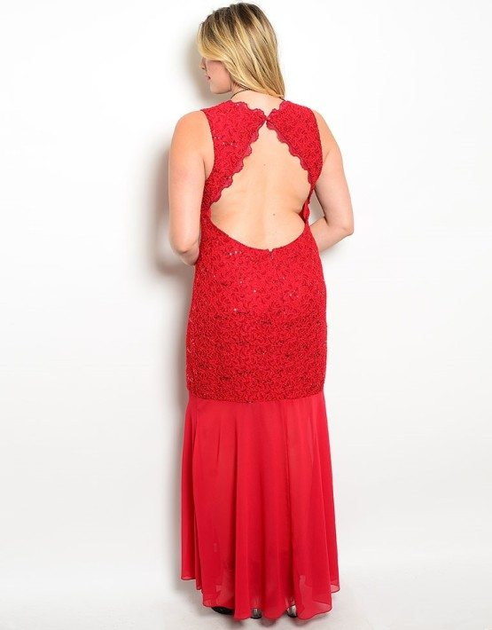 Wine Color Lace Sheer Evening Dress