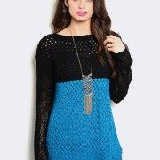 BLACK TEAL OPEN KNIT SWEATER