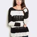 BLACK WHITE STRIPED BURNOUT SWEATER