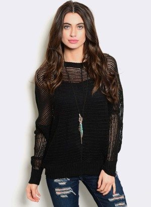 TRANSPARENT BLACK KNIT SWEATER