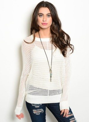 TRANSPARENT IVORY KNIT SWEATER