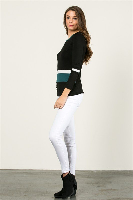 Long Sleeve Tri-Color Top