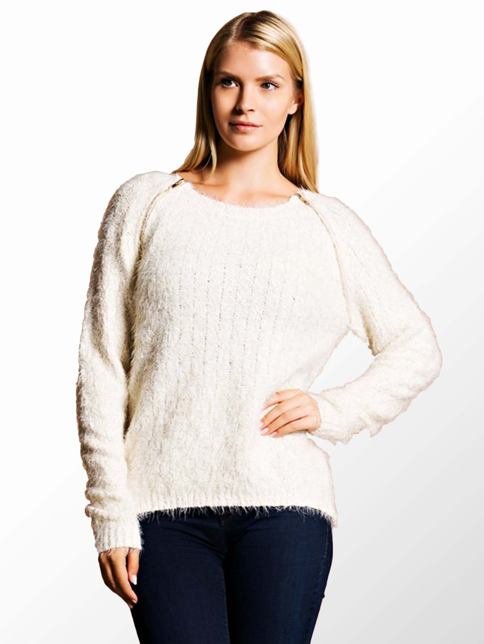 Hot & Delicious Beige Long Sleeve Fuzzy Sweater - ModishOnline.com