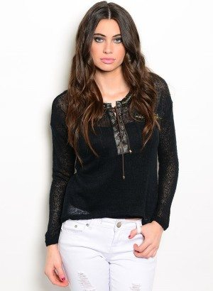 Black Gold Lace-Up Sweater