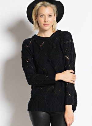 Black Open Knit Diamond Pattern Sweater