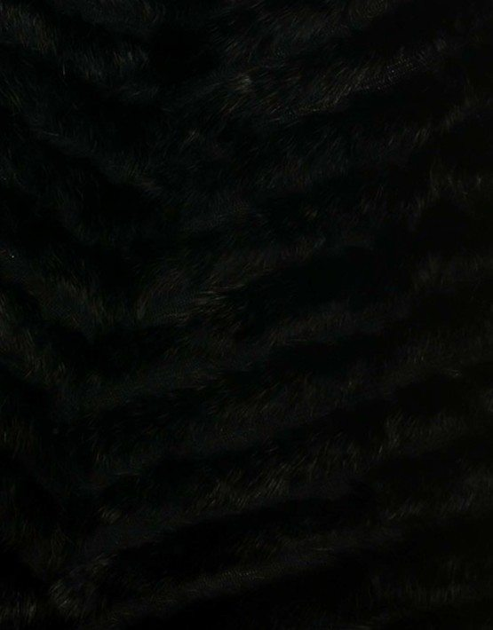 Black Rabbit Fur Poncho Fox Fur Neckline