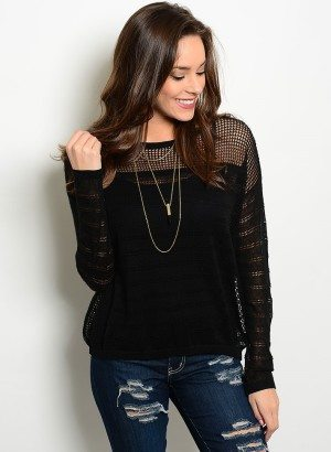 Black Sheer Knit Sweater