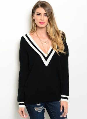 Black Oversized V Neck Sweater