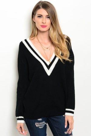 Black Varsity V Neck Sweater