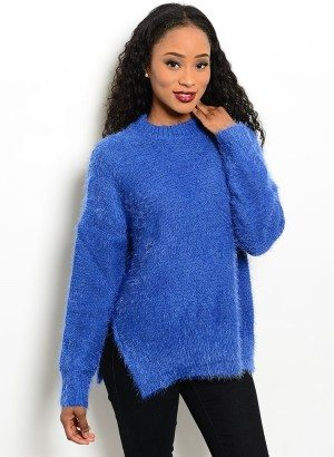 Blue Fuzzy Knit Sweater