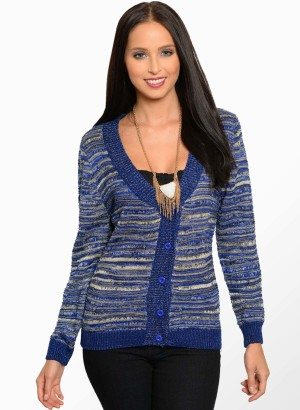 Blue Knit Cardigan Sweater