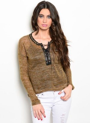 Brown Gold Lace-Up Sweater