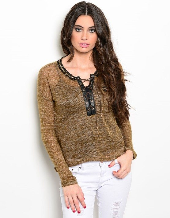 Brown Gold Lace Up Sweater