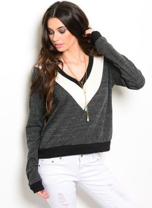 Grey V Neck Sweater with Two-Tone Yoke
