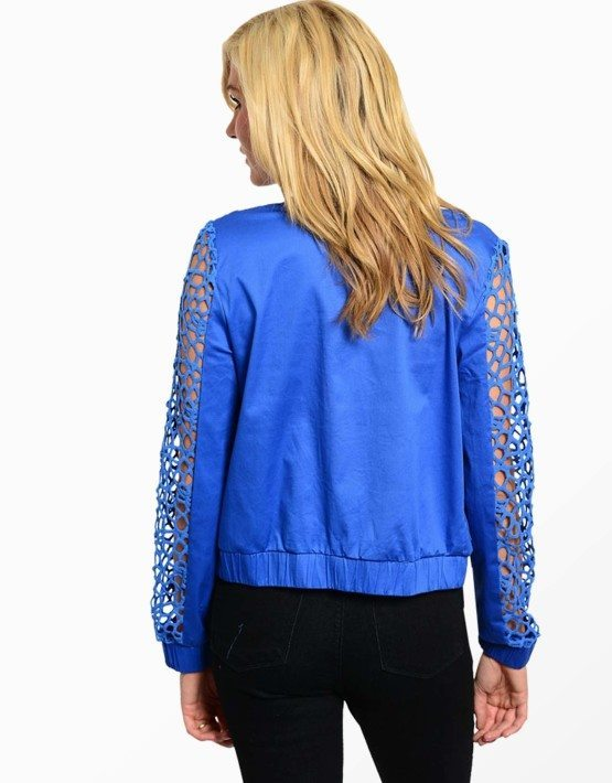 Laser Cutout Sleeve Jacket