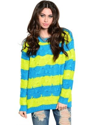 Lime & Blue Striped Crochet Knit Sweater