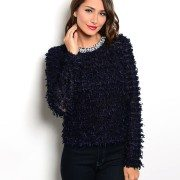Navy Blue Embellished Sweater