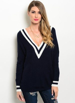 Navy Oversized V Neck Sweater
