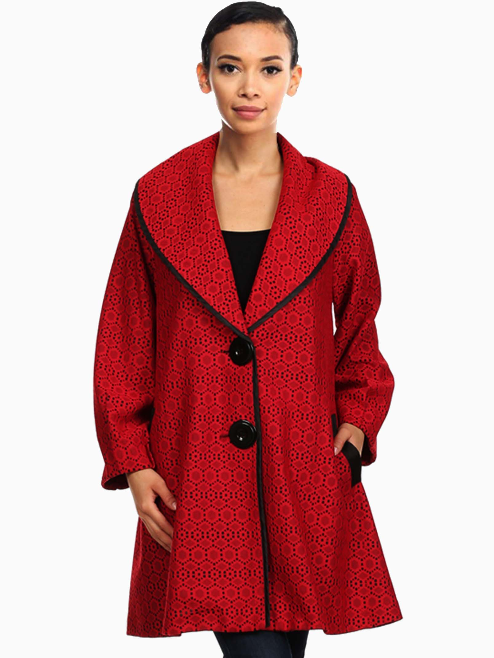 Red Oversized Crochet Lace Coat - ModishOnline.com