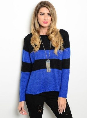 Royal Blue & Black Striped Sweater