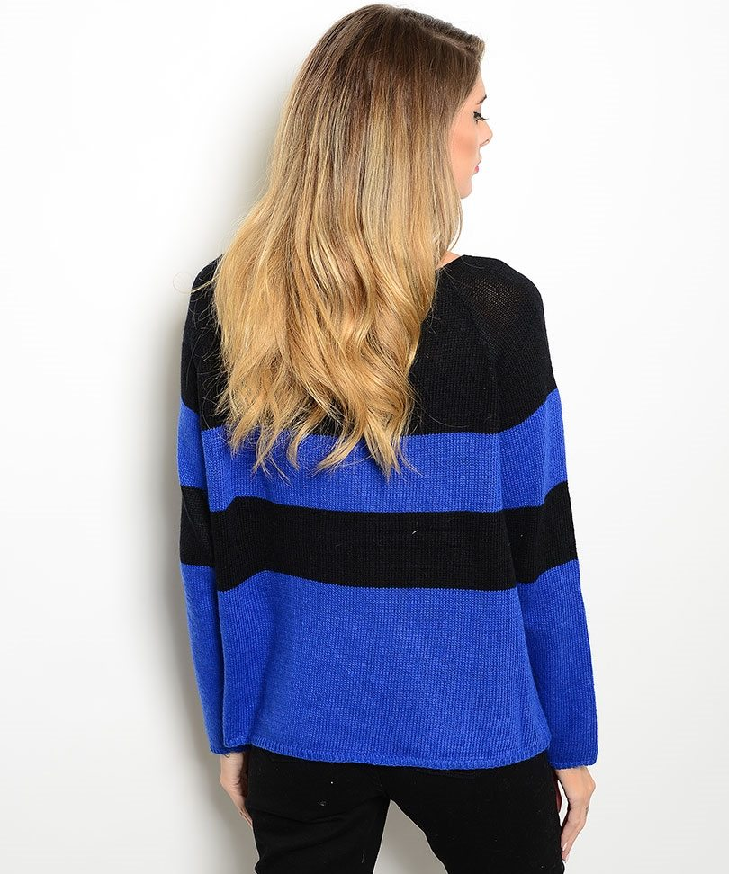 Royal Blue & Black Striped Sweater - ModishOnline.com