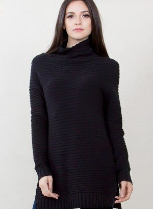 Black Chunky Turtleneck Sweater