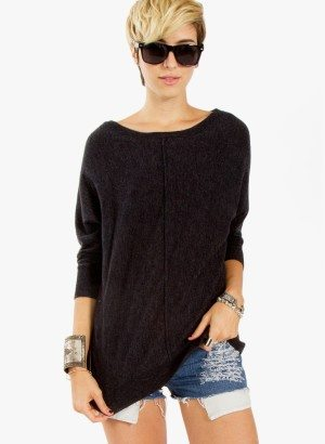 Charcoal Grey Dolman Sleeve Sweater by Sugarlips
