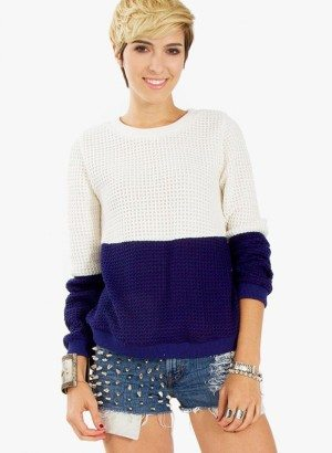 Cream Navy Color Block Sweater by Sugarlips