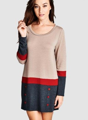 Taupe Long Sleeve Scoop Neck Casual Dress