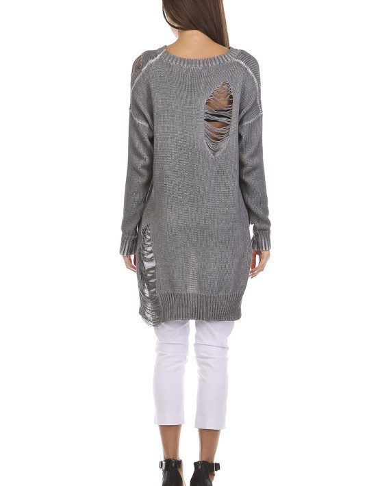 TOV Grey Loose Fitting Distressed Sweater