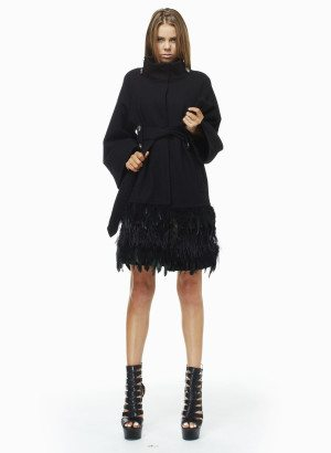 TOV Black Ostrich Trimmed Wool Coat