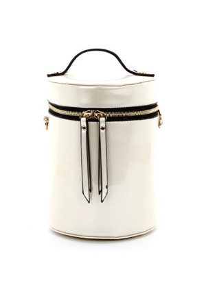White Cylinder Cross-Body Bag