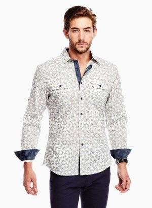 Off White Grey Geometric Print Casual Shirt